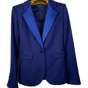 Rachel Zoe blazer jacket wool silk XS 2 blue navy